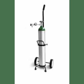 Kit  Cilindro de Alumínio 4,6 para Oxigênio com Válvula, Regulador de Pressão e Carrinho